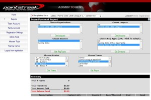 Accounting and financial software for baseball leagues.