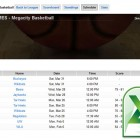 Import basketball league schedules from Excel.
