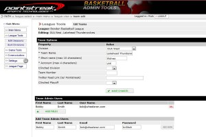 Online basketball team management tools